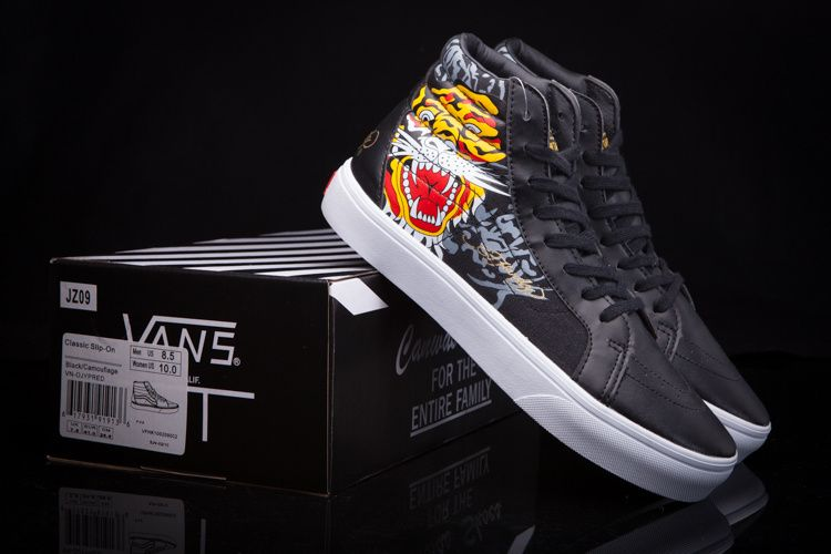 8bba545b50a0 Vans new joint Ed Hardy high-end leather JZ09 high to help men and women  shoes 35-448  Vans