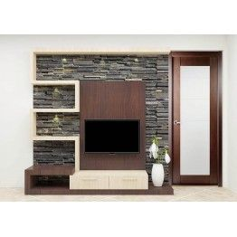 Tv Unit Made Up Of Plywood And Laminate Finish Comes Including The Stone Cladding This Unit Being A Cen Modern Tv Units Tv Unit Design Modern Tv Unit Designs