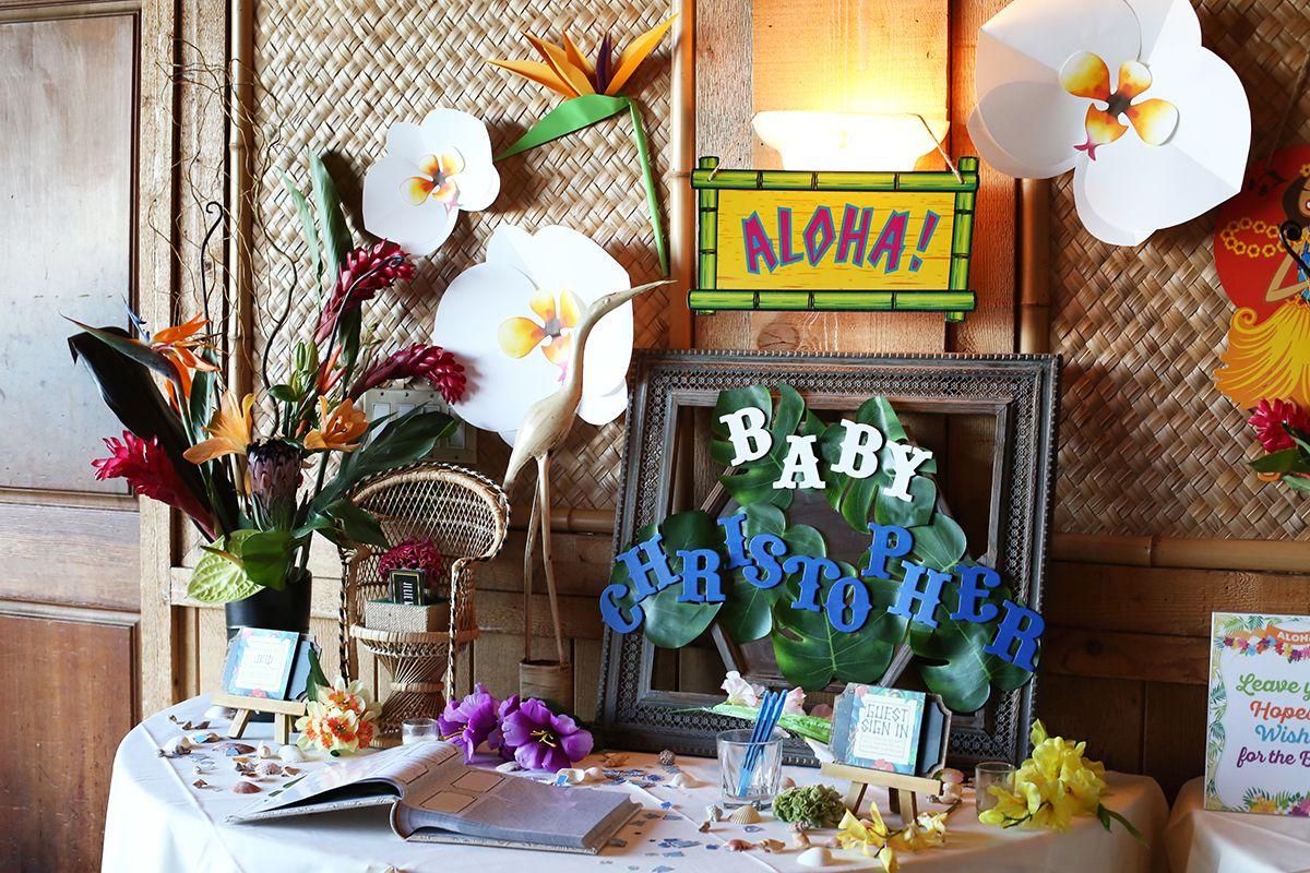 Julie Khuu Interior Design, Event Design, Hawaiian Baby Shower, Guest Table