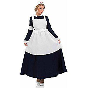 Damen Krankenschwester Kostüm Rotes Kreuz Schürze Viktorianisch Edwardianisch