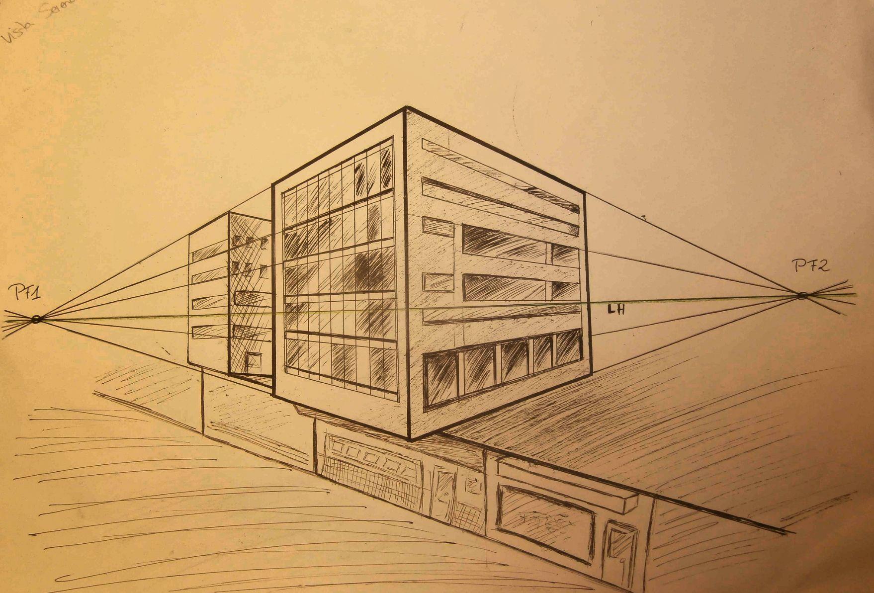 Es Un Apunte Urbano Dibujado A Plumilla En Perspectiva Conica Oblicua Con Dos Puntos De Fuga Pf1 Y Pf2 Donde Tambie Punto De Fuga Paisaje Urbano Perspectiva