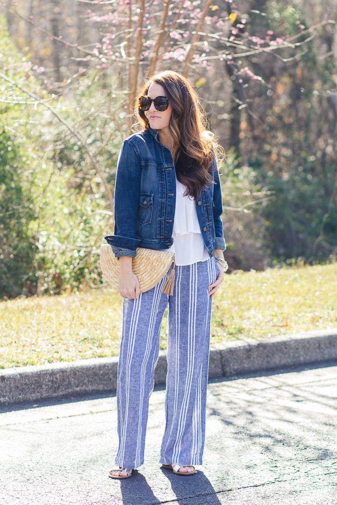 a69d02d496bc3 Wide leg pants outfit idea via Peaches In A Pod blog. Striped wide leg linen