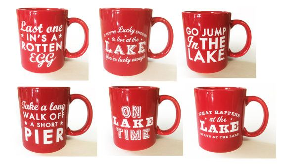 Lake Coffee Mugs Set Of 6 With Six Different Lake Slogans Red