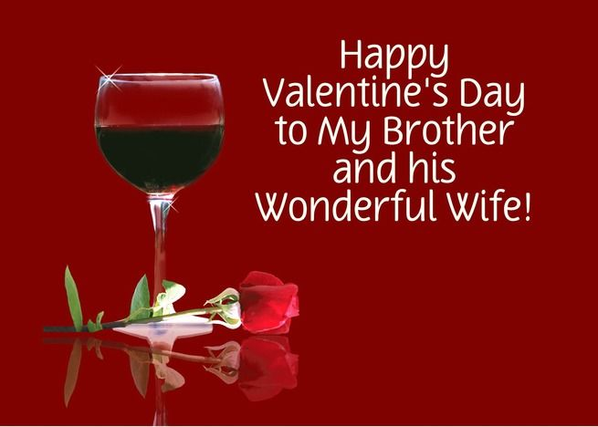 Red Wine & Rose Customizable Valentine's Day Card for Brother & Wife card ,