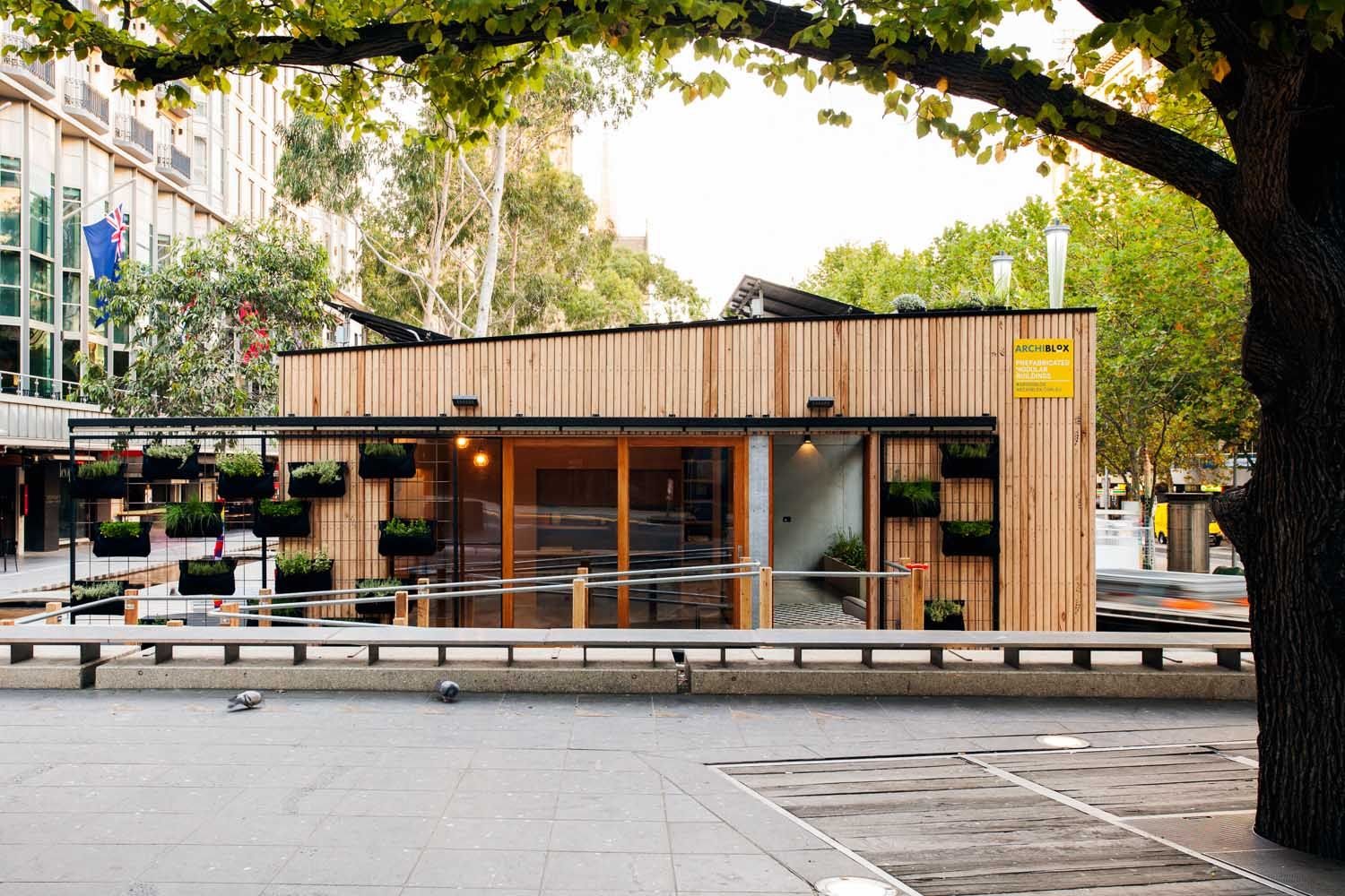 "Australian firm <a href=""https://www.dwell.com/design-source/org/archiblox"">Archiblox</a> has designed the world's first carbon-positive prefab. We take a tour of the space, which is currently on view in Melbourne's City Square."