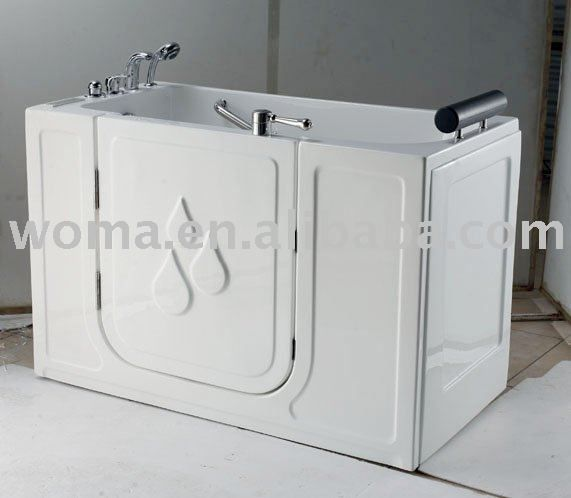 58.3-in L Walk In Tub Shower Combo Bathtub For Disabled Hot Tub ...
