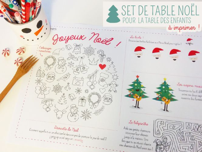 set de table de noël à imprimer et colorier | diy and crafts, noel