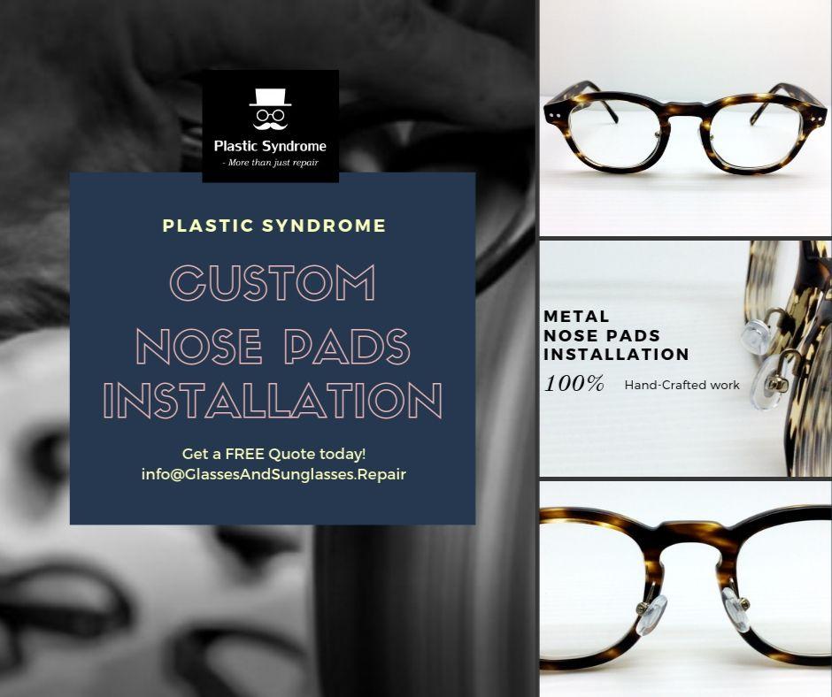 Adjustable Metal nose pad arms on plastic frames Sydney