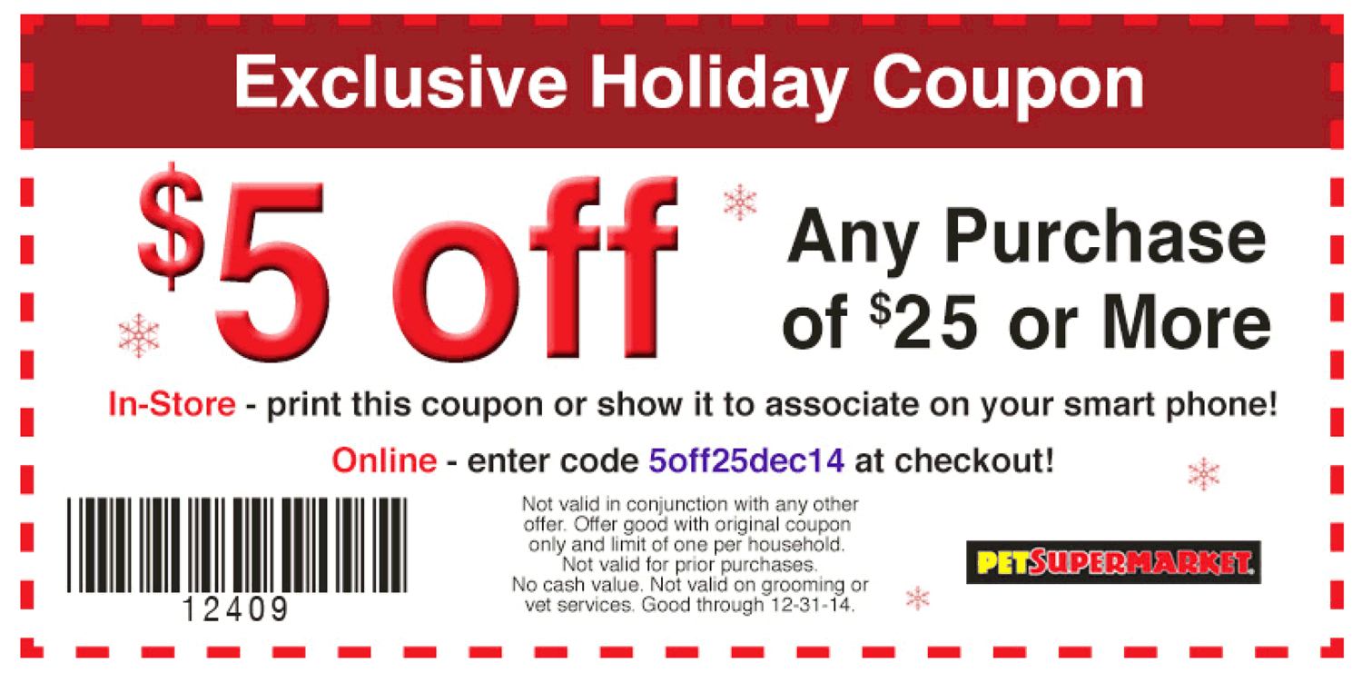 photo regarding Pet Supermarket Coupons Printable called Pinned December 21st: $5 off $25 at Canine #Grocery store, or