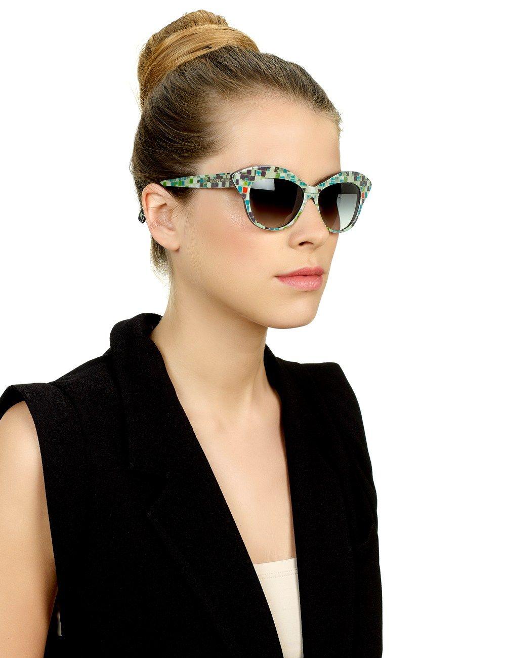 c9b51228fd0e Mosaic Cat-Eye Sunglasses | Wunderkind Turquoise Mosaic Cat-Eye Sunglasses  by Wolfgang Joop | Avenue32