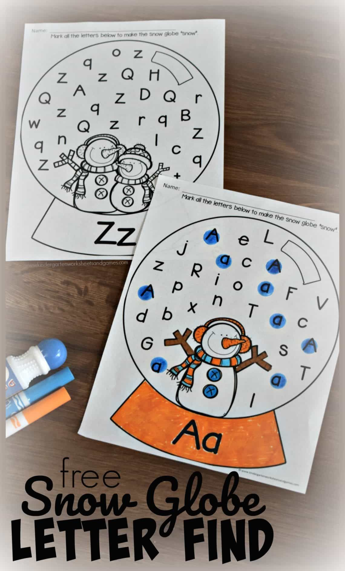 Free Snow Globe Letter Find Kindergarten Worksheets And