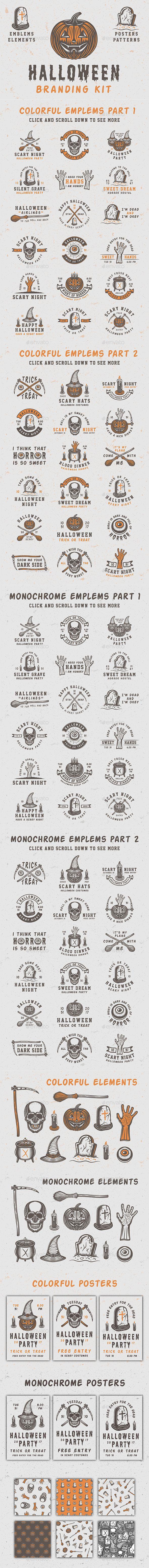 Halloween Branding Kit | Badges, Ai illustrator and Banner template