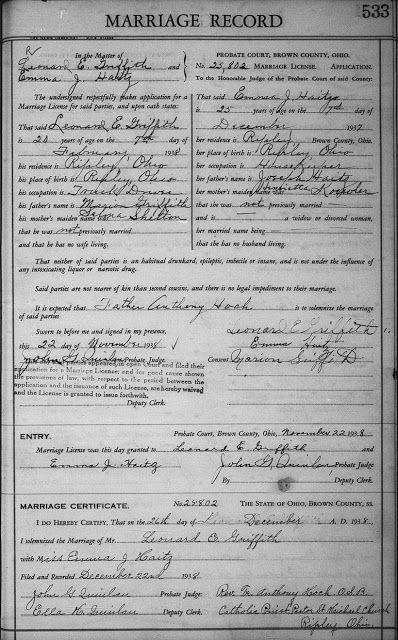 Leonard E Griffith and Emma J Haitz - Marriage License and ...