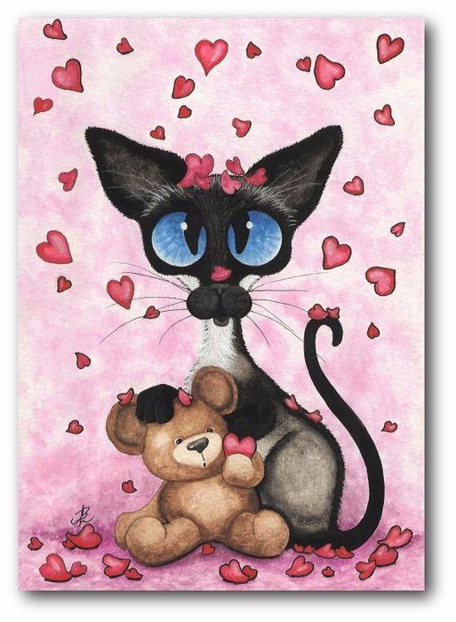 Для друга, нарисовать кота для открытки