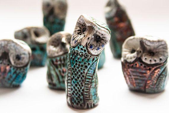 Miniature Raku Ceramic Owl Set of 3   OOAK by TraBan on Etsy