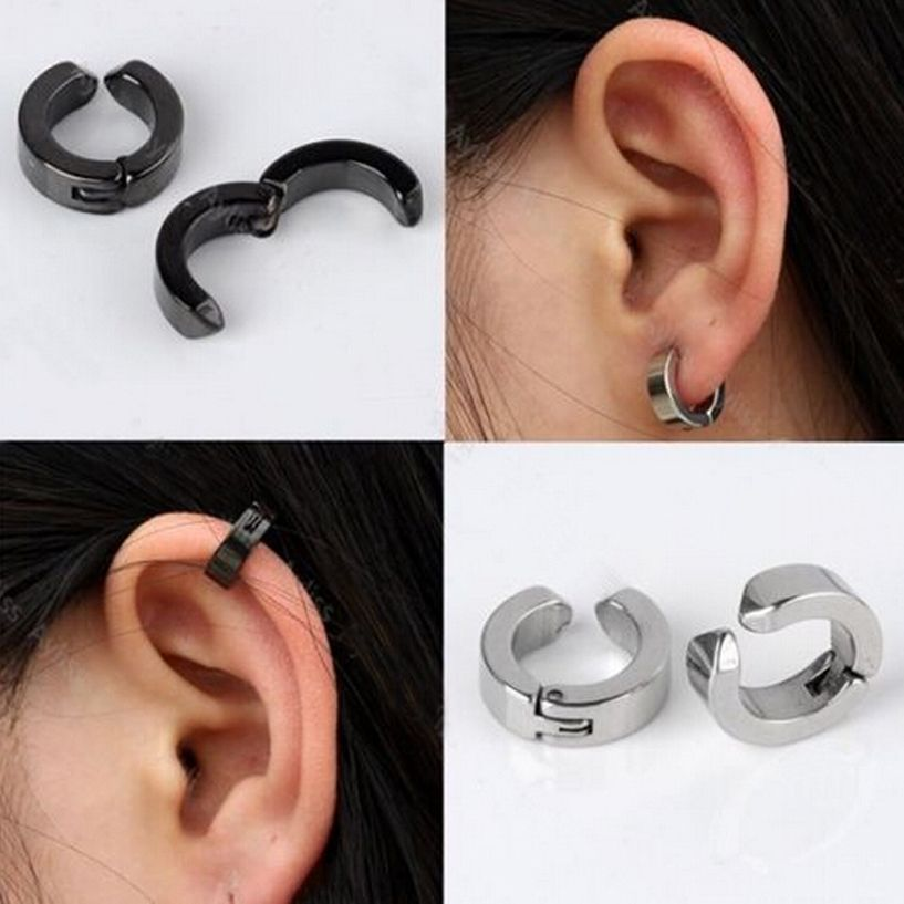 2pair Men Stainless Steel Fake Piercing Ear Stud Cuff Hoop Non Clip On