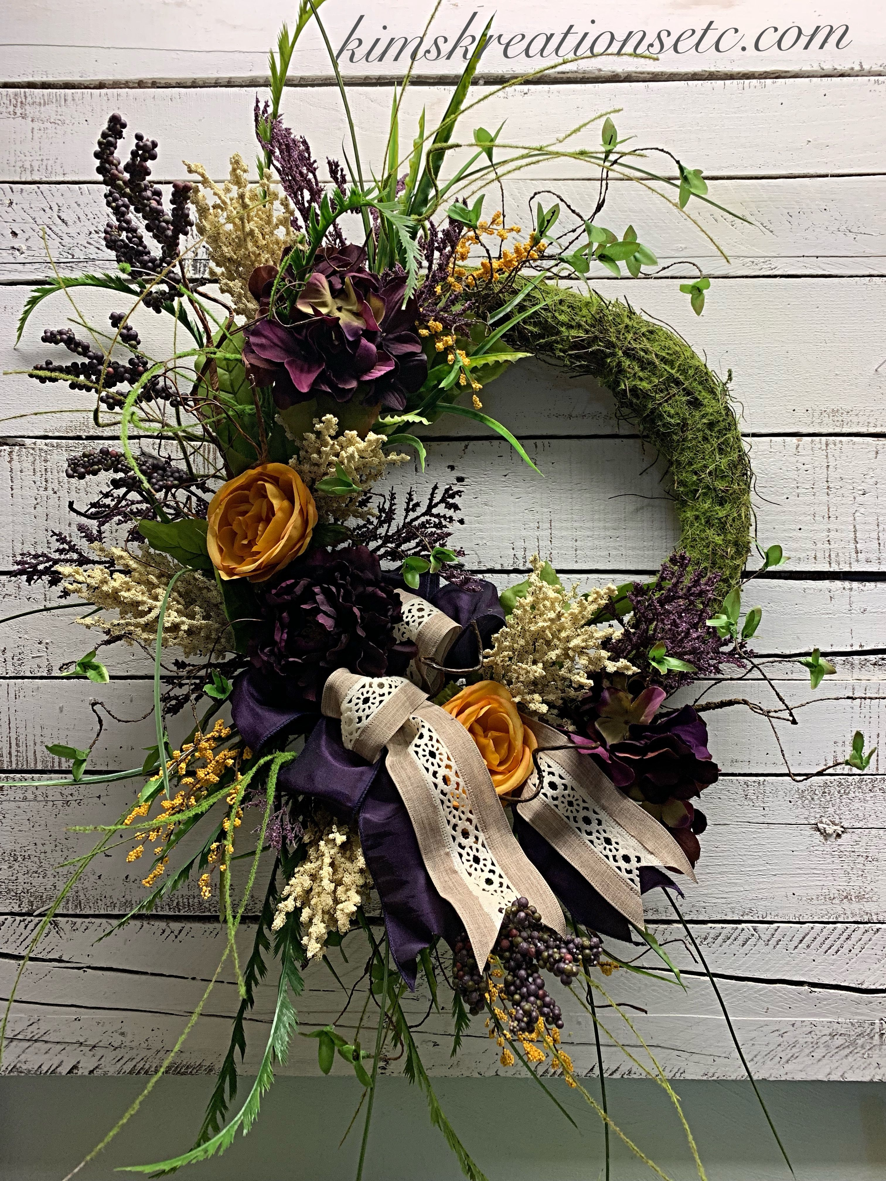 Fall Wreath Purple Wreath Purple And Gold Wreath For Fall Fall