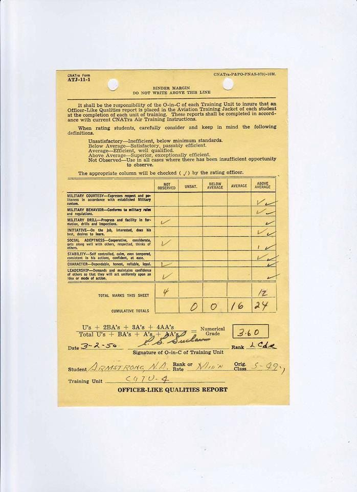 7-20-1969, astronaut Neil Armstrong, who served as a naval aviator - training report