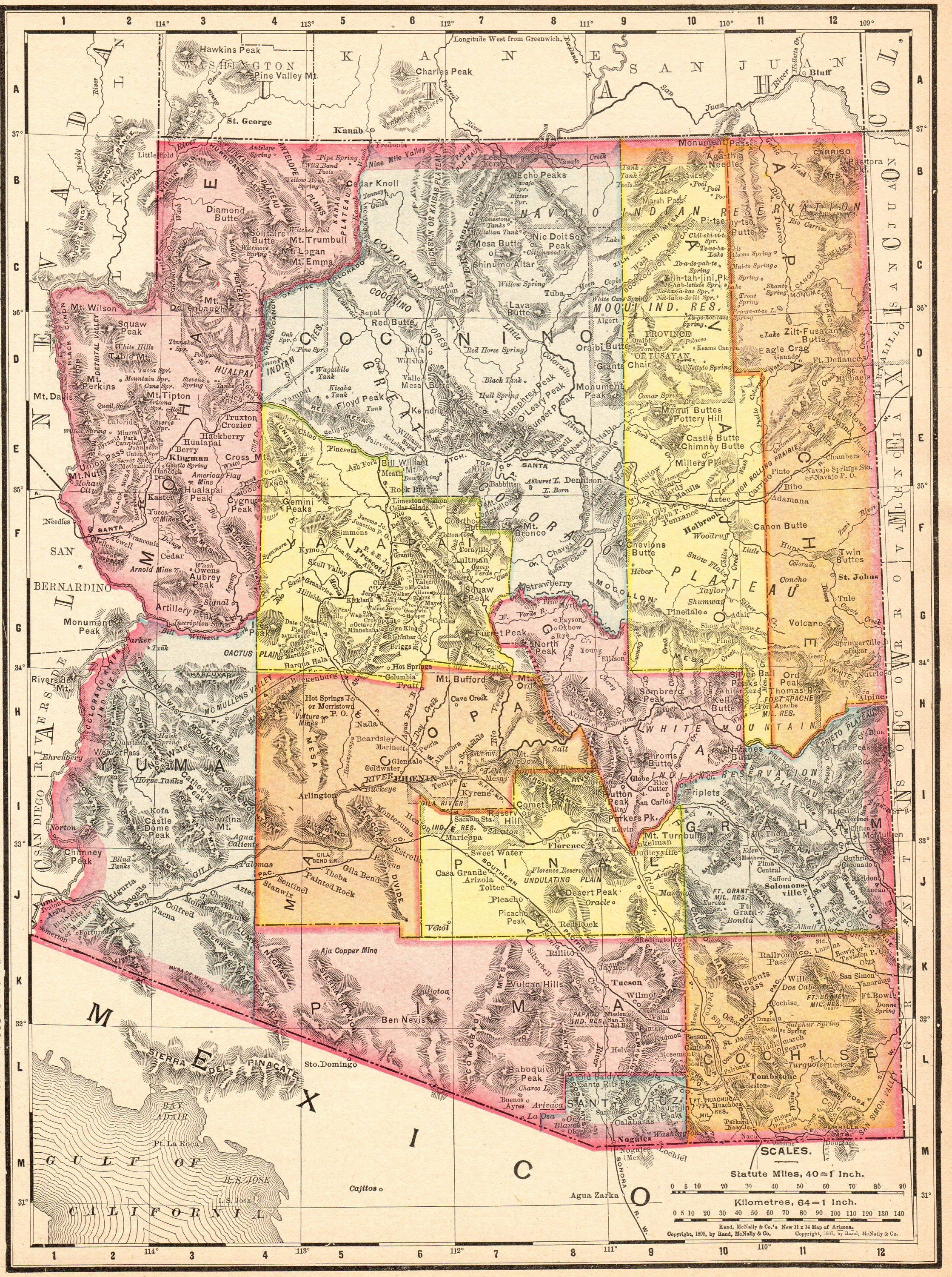 1911 Antique Arizona State Map Vintage Map Of Arizona Gallery Etsy Arizona Map Arizona State Map Art Gallery Wall
