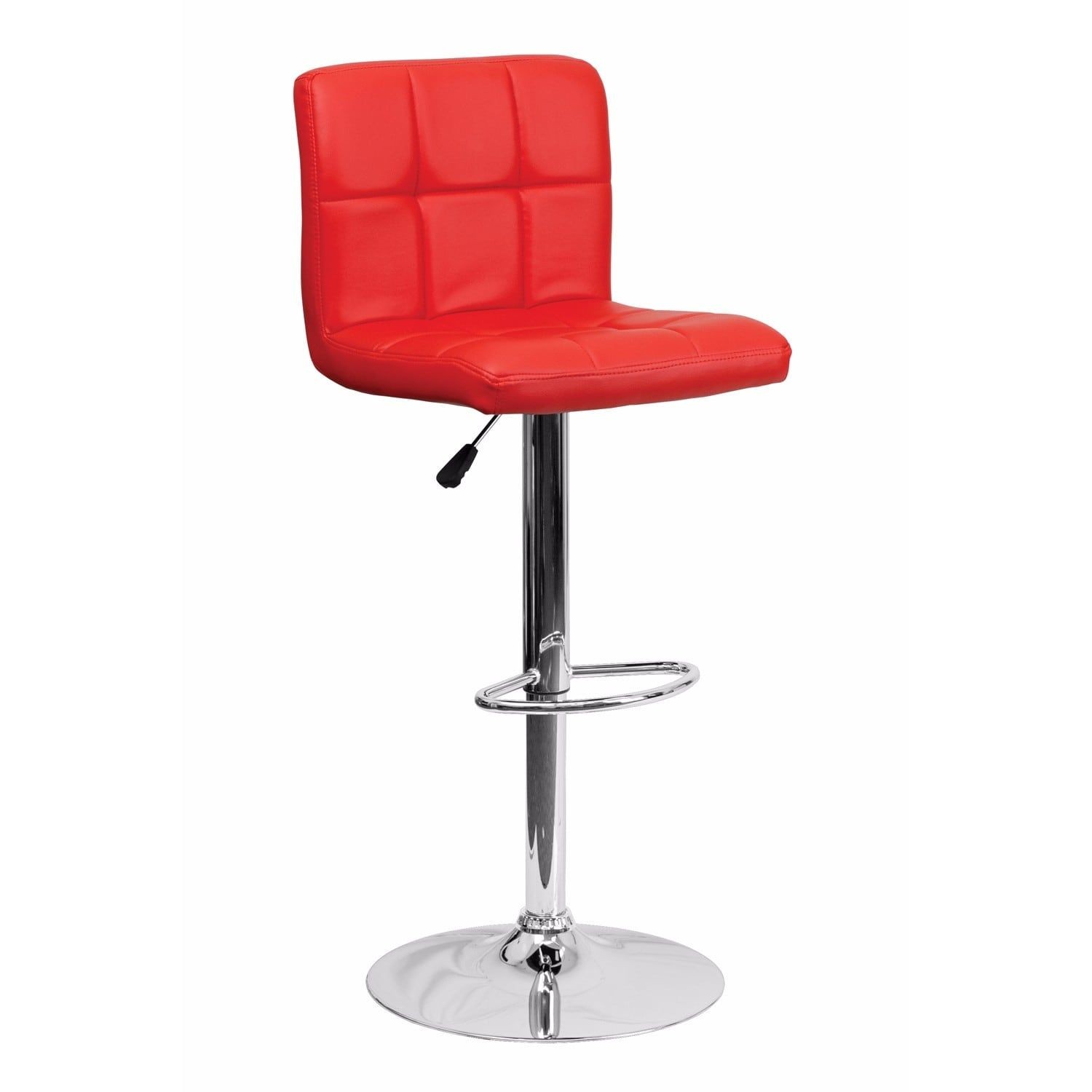 Offex Contemporary Red Quilted Vinyl Adjustable Height Bar Stool With