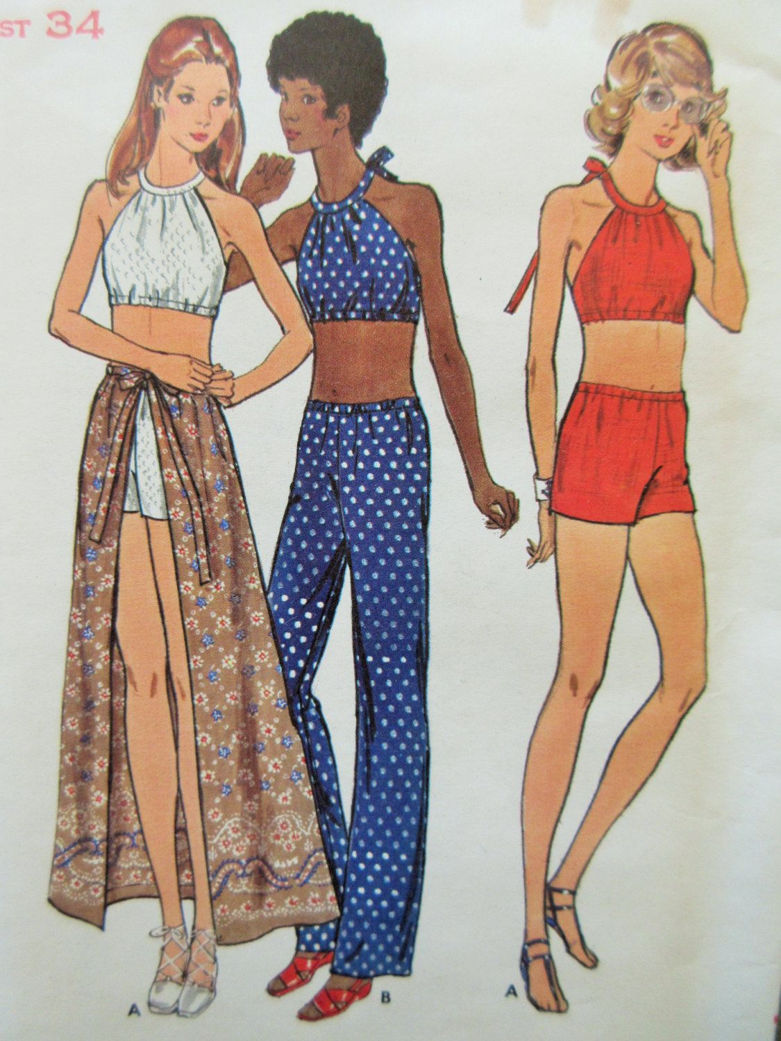 Vintage Butterick 6702 Sewing Pattern, 1970s Halter Pattern, Crop ...