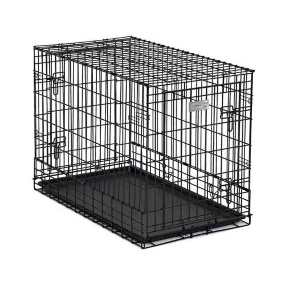 MidWest Side-by-Side Double Door SUV Crate with Plastic Pan, 36 Inches by 21 Inches by 26 Inches