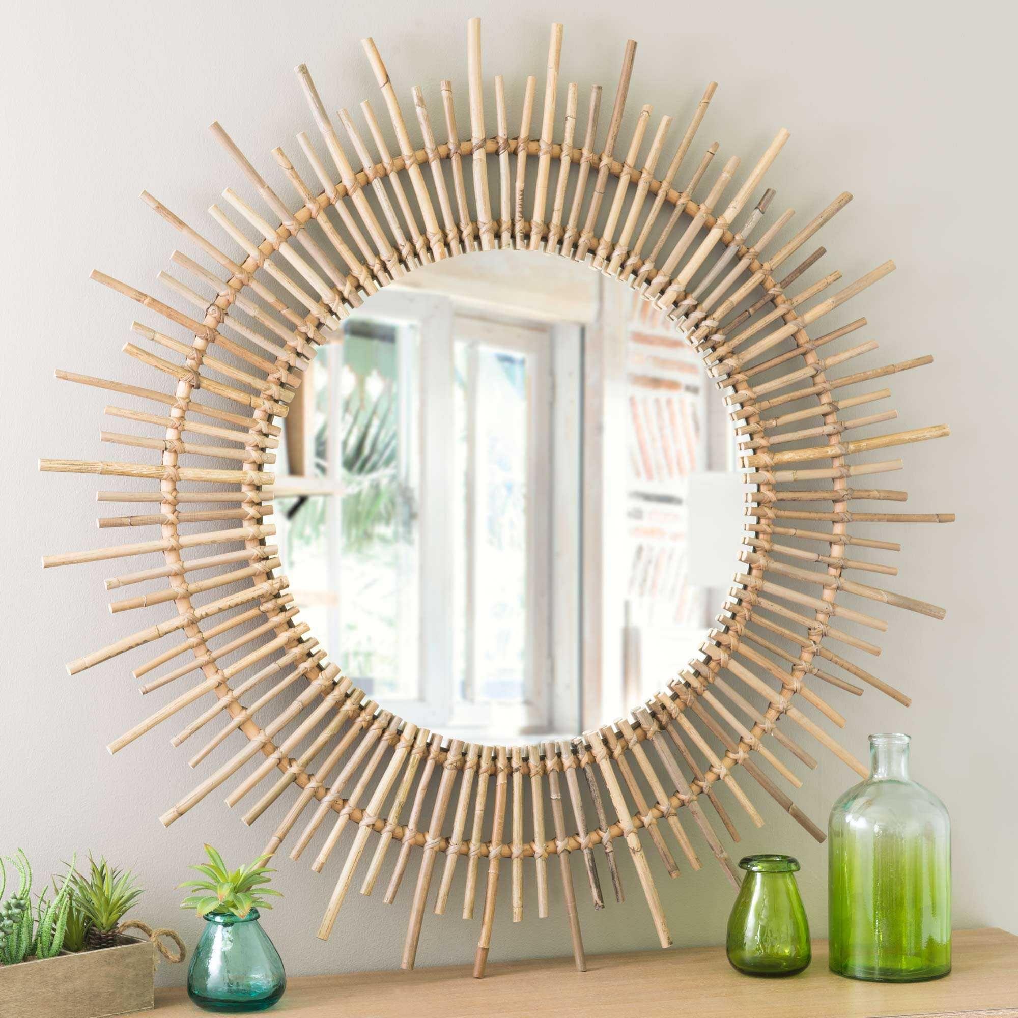 Miroir rond en rotin D 90 cm | Miroir rond, Rotin et Miroirs