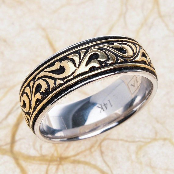 14k White Gold And Yellow Gold Art Deco Mens Wedding Band Here
