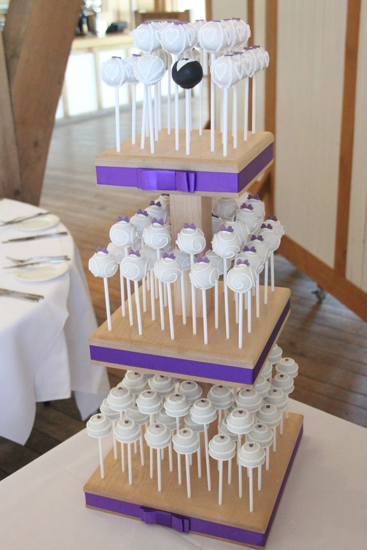 Purple and white wedding cake pops