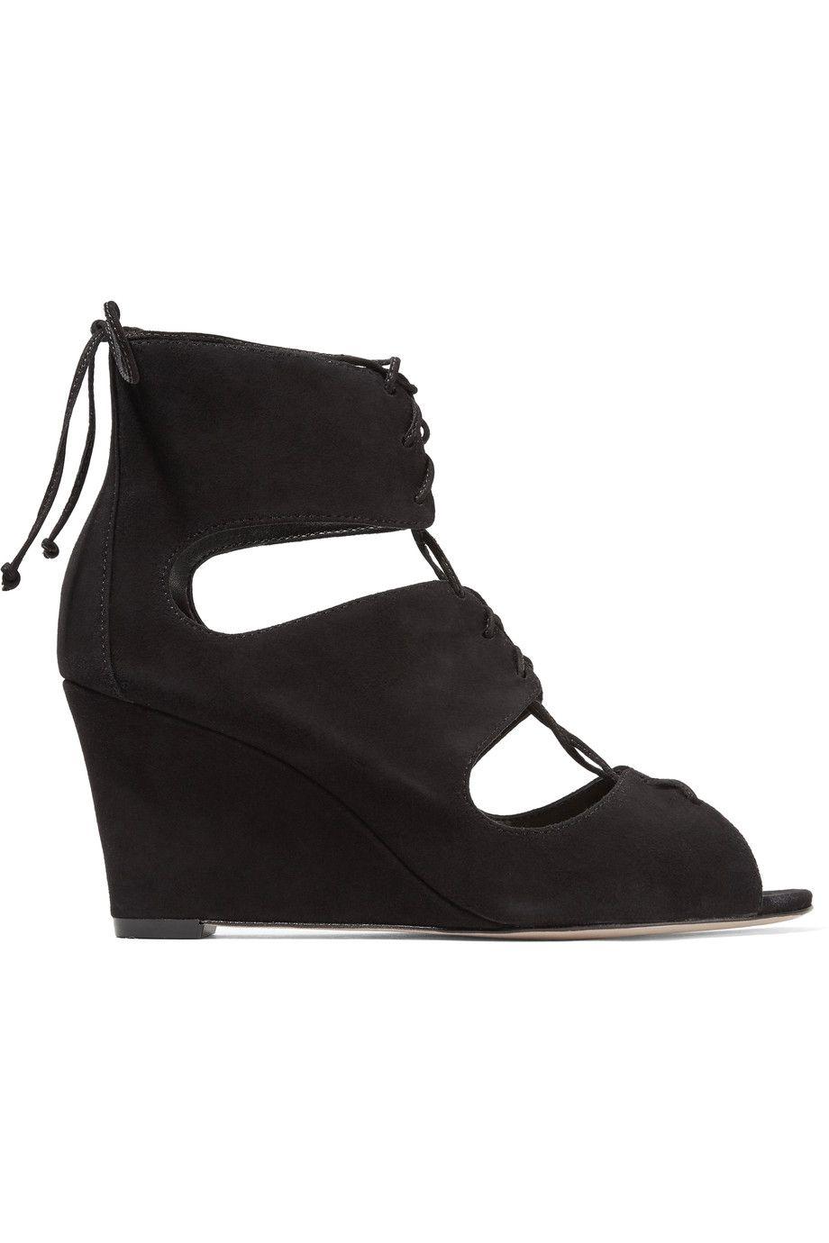432f98bc6 SCHUTZ Adisa Lace-Up Cutout Suede Wedge Sandals. #schutz #shoes #sandals