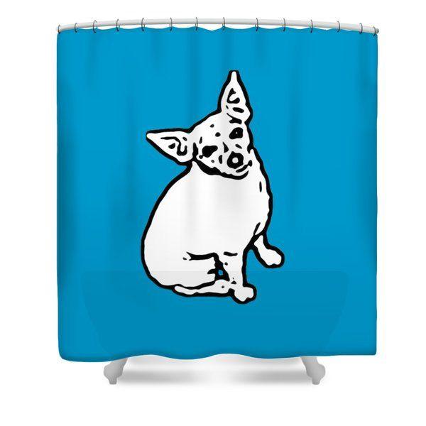 Pop Art Dog Shower Curtain Bathroom CurtainAquaPop ArtBathroom DecorChihuahua AccessoryPet CurtainTerrierHome Decor