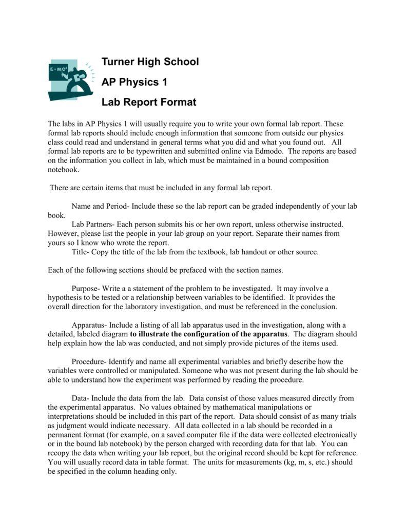 Pre-Ap Physics Lab Report Format inside Physics Lab Report