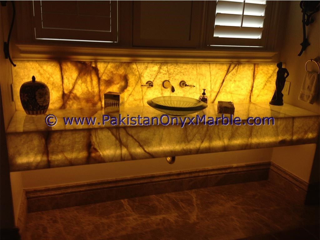 Bathroom Washroom Backlit Onyx Sinks