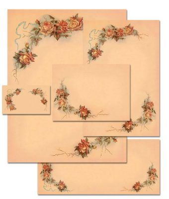 China Rose Fine Victorian Floral Stationery Letterhead