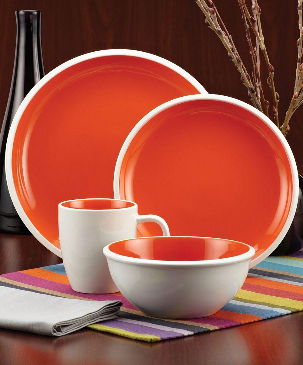 Rachael Ray Orange 16-Piece Dinnerware Set | zulily & Rachael Ray Orange 16-Piece Dinnerware Set | zulily | Home decor ...