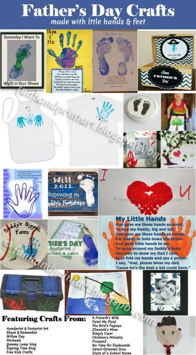 20 Handprint Footprint Crafts for Father's Day