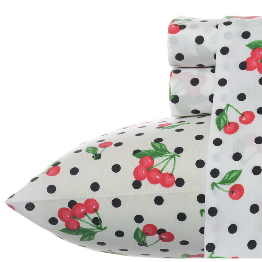 betsey johnson cherry red sheet set | bedroom sanctuary