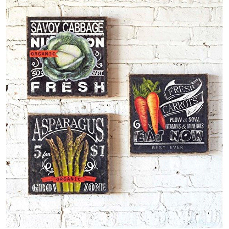 Set of invigorating chalkboard style fresh vegetable canvas