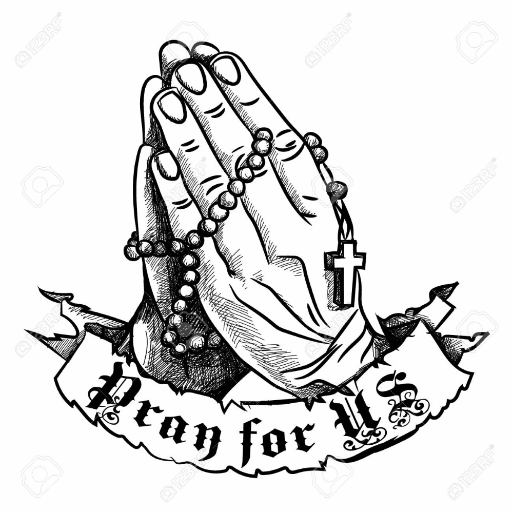 Prayer Hands Google Search Praying Hands With Rosary Rosary Drawing Prayer Hands Drawing