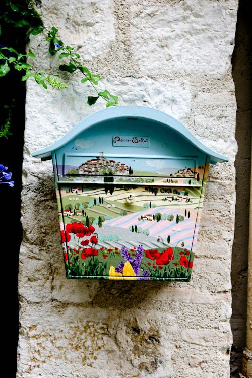 A mailbox in Saint Paul de Vence, France ~ hand-painted and signed by the artist. Photo by Jenia Rodovich