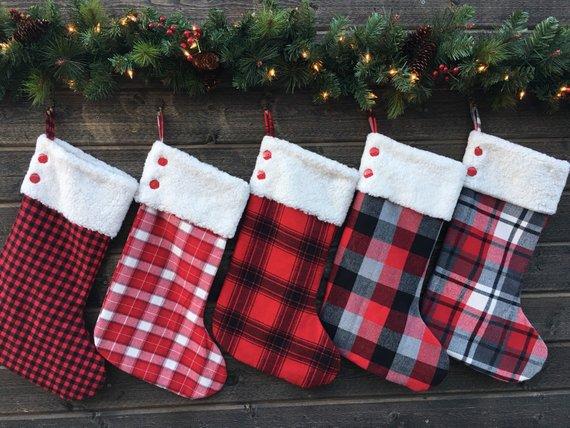 Family Christmas Stockings.Flannel Christmas Stockings Set Of Five 5 Christmas