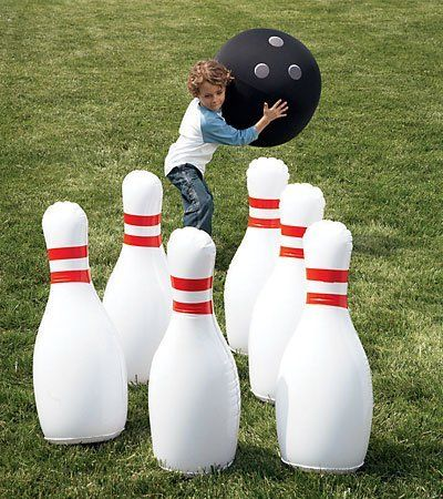 Indoor/Outdoor Giant Inflatable Bowling Game by HearthSong®. $34.98. Bowl outdoors or indoors any time - BIG time - and enjoy immensely all the fun and activity of the sport of bowling without the trip to the alley. You can set up these giant inflatable pins almost anywhere and each time invent ingenious ways to throw, kick, or otherwise go about bowling them over. Hand-operated Dual-Action Pump makes ball and pin inflation extra easy. Ever-exciting for ages 4 and up. Size:Pins...