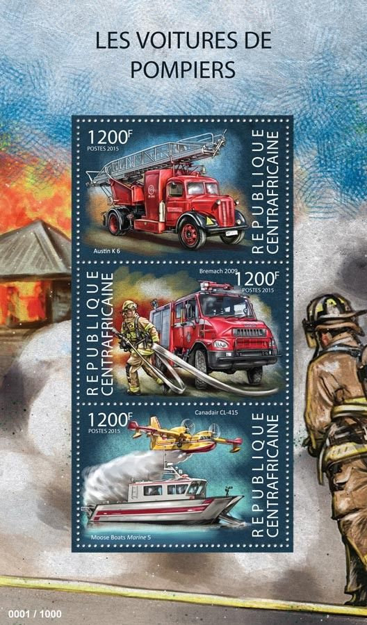 Central African Republic CA post stamp 15304 aFire engines (Austin K6, Bremach 2009, Canadair CL-415)