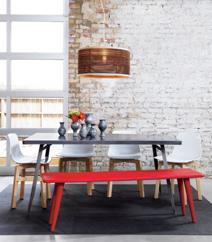 Strange Baja Red Bench In Dining Chairs Barstools Cb2 Kitchen Caraccident5 Cool Chair Designs And Ideas Caraccident5Info