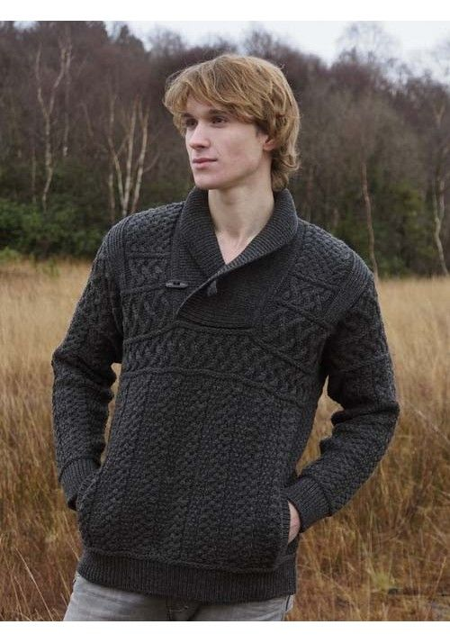 2acb12cb3b92cc SHAWL COLLAR SWEATER WITH TOGGLE BUTTONS Made from 100% Merino Wool Colours  avaliable  Oatmela Nep
