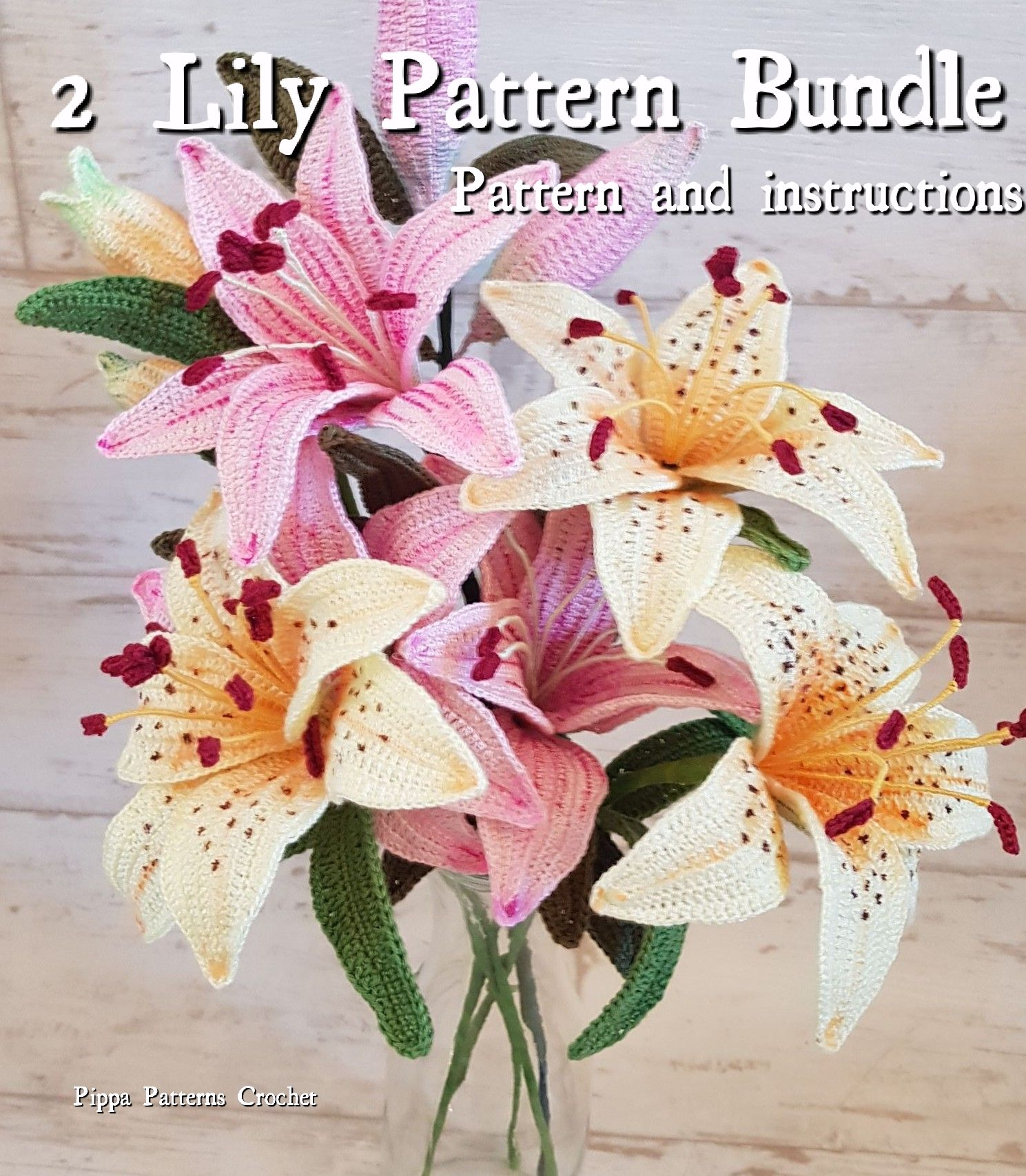 Crochet stargazer lily and pinktiger lily flower pattern and crochet stargazer lily and pinktiger lily flower pattern and instructions crochet flower plant for decoration home handmade pink white izmirmasajfo