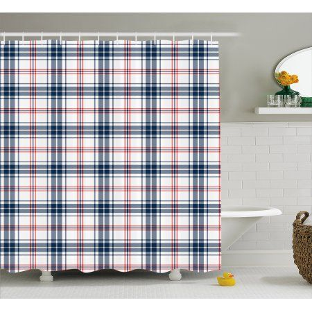 Plaid Shower Curtain Traditional Checkered British Country Pattern With Geometric Design Fabric Bathroom Set Hooks 69W X 84L Inches Extra Long