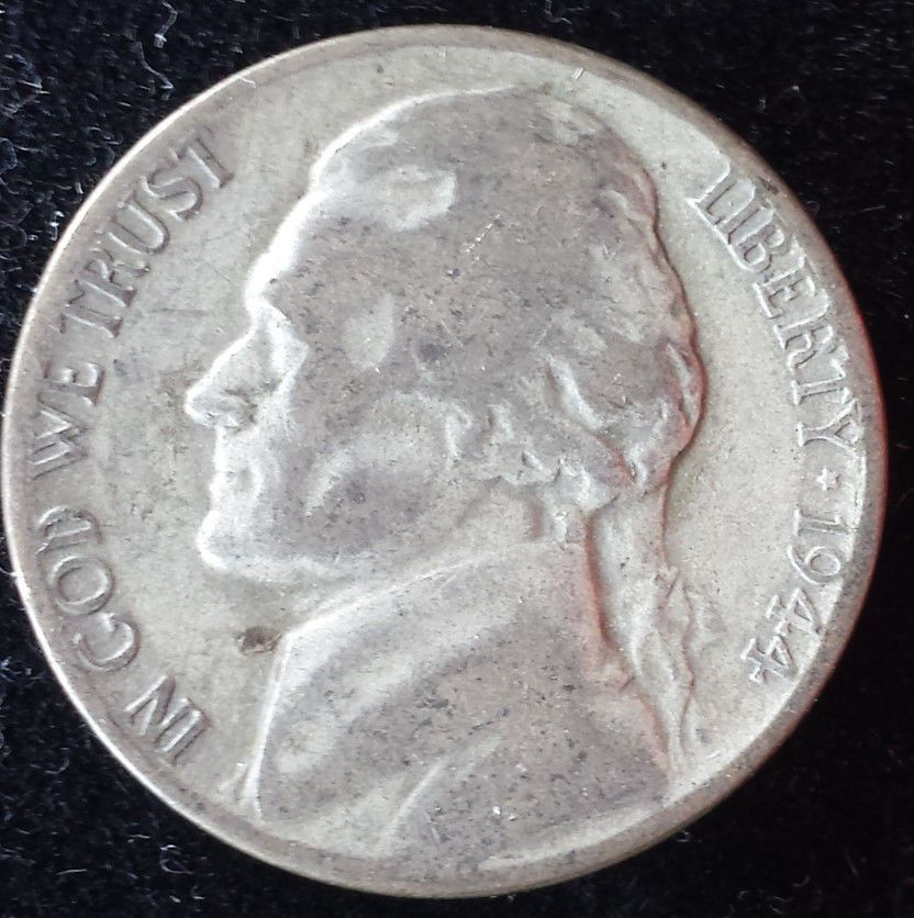 1944 D Silver World War 2 Jefferson Nickel 5 Cents Historic Old Coin Argent