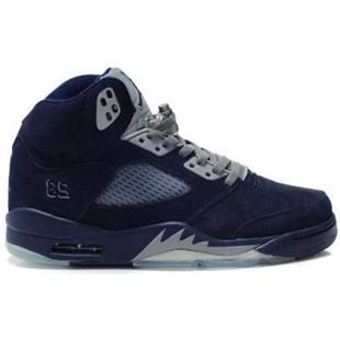 Big Discount 66 OFF Air Jordan 5V Fluff Navy Blue Grey White