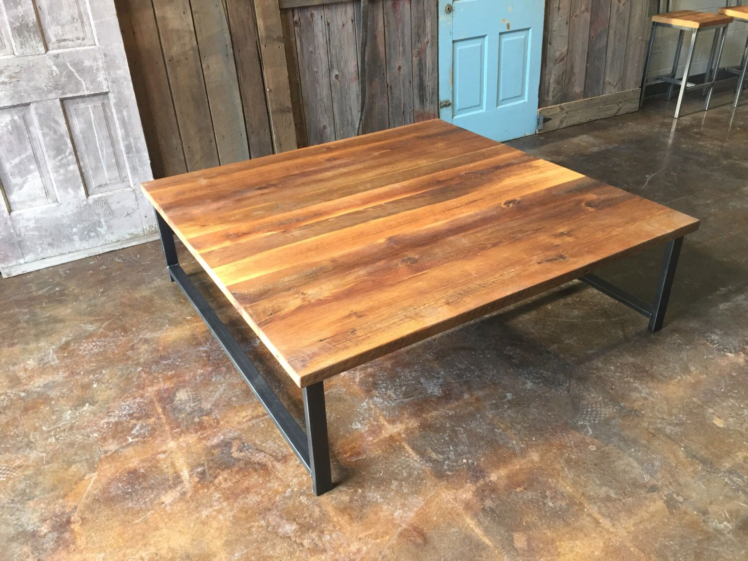 Large square reclaimed wood coffee table industrial h